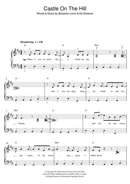 Ed Sheeran Sheet Music Notes Piano Music Notes Ed Sheeran