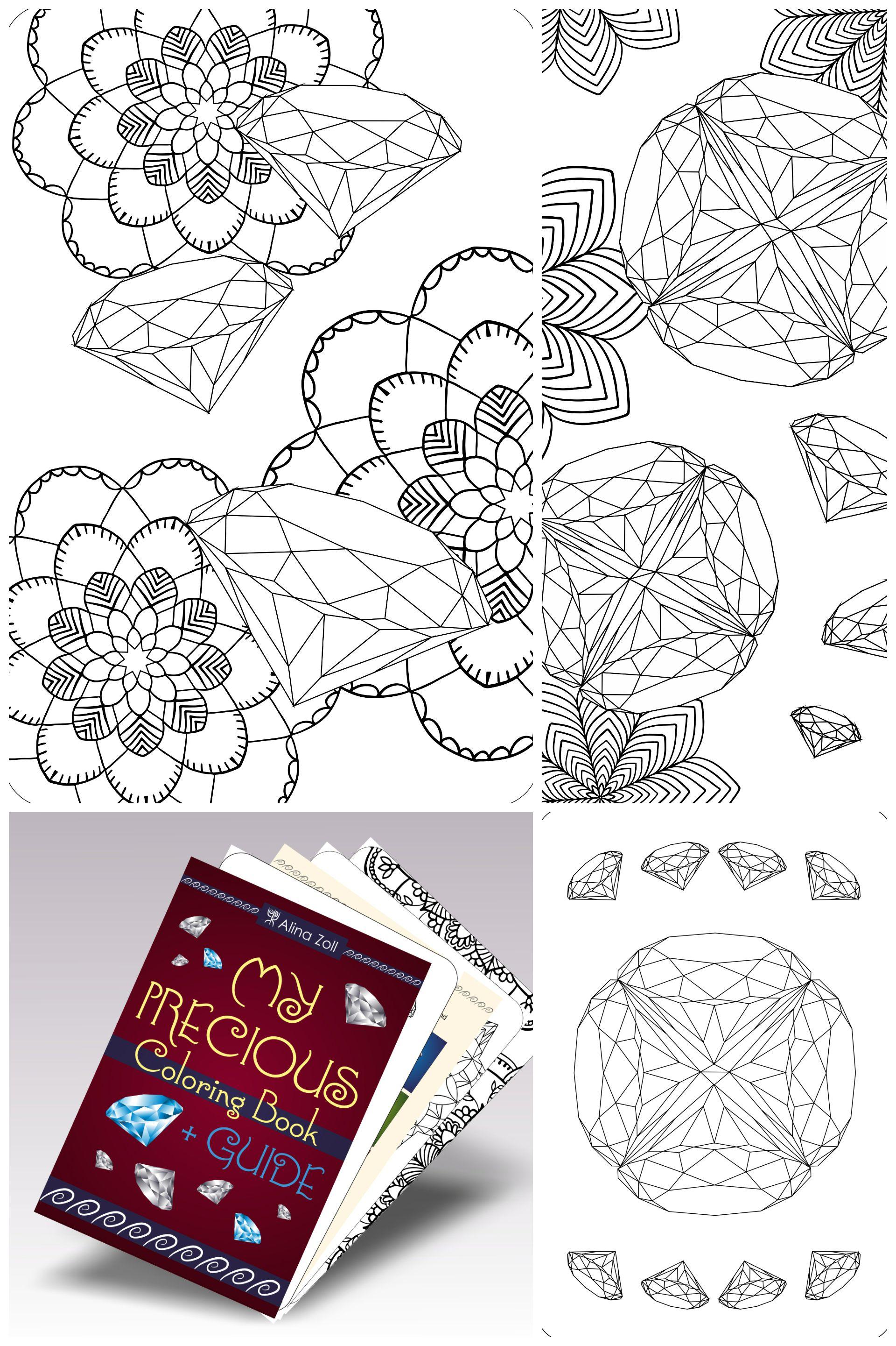 Digital adult coloring book gemstone drawing tutorial adult