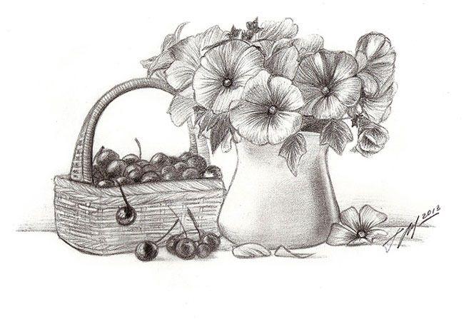Картинки натюрморт карандашом цветы наше