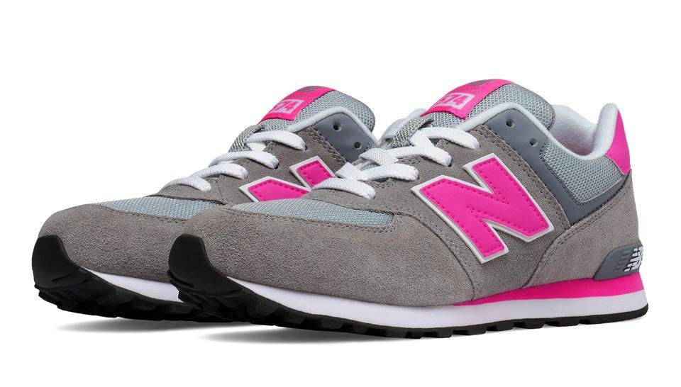 new balance 574 grey & pink trainers