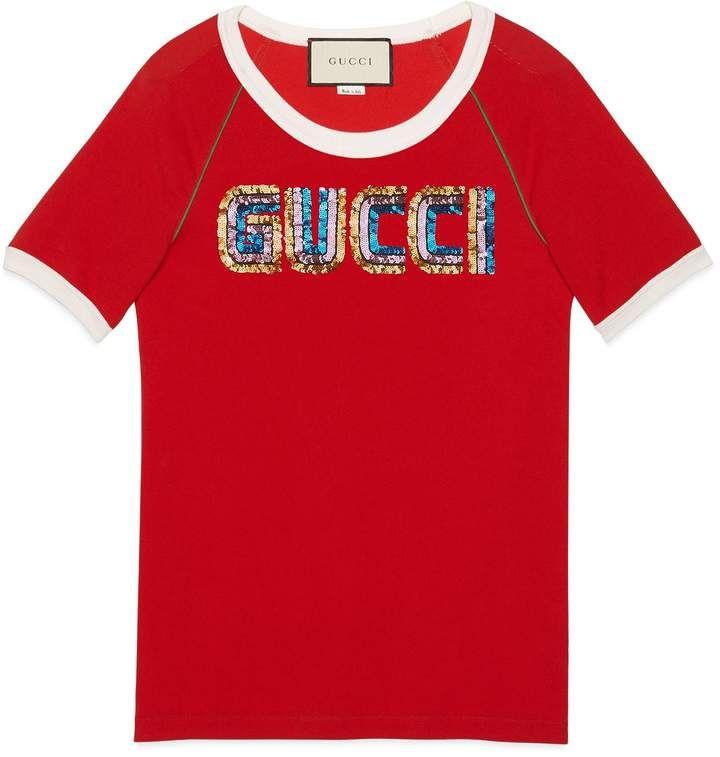 e80e0a0fc23 T-shirt with Gucci appliqué  gucci  ShopStyle  MyShopStyle click link for  more information