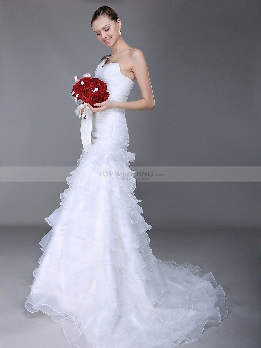 One shoulder mermaid wedding dress with tiered ruffle for Tiered ruffle wedding dress