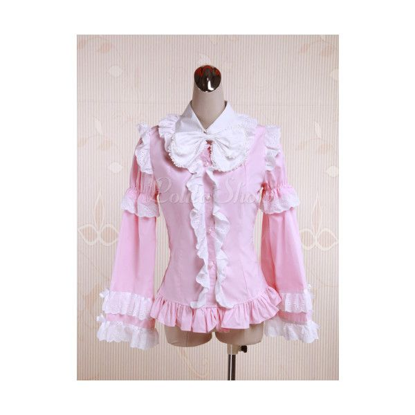 Cotton Pink Ruffles Bow Lolita Blouse ($30) via Polyvore featuring tops, blouses, flutter-sleeve top, flounce top, ruffle blouses, ruffle top and pink ruffle blouse