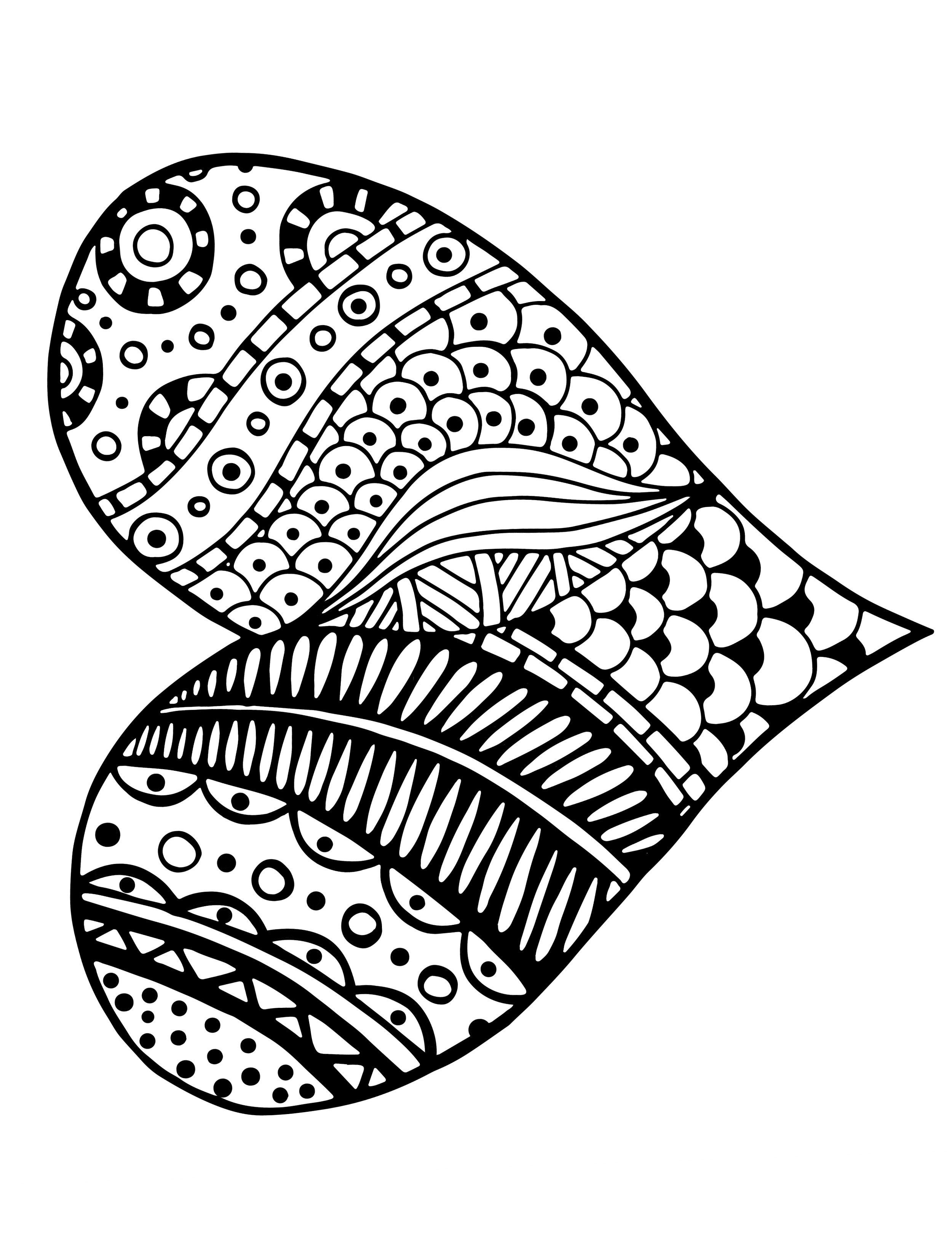 heart zentangle coloring pages - photo#41