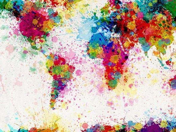Paint splosh world map love art design textiles pinterest map of the world map paint splashes art print by artpause gumiabroncs Choice Image