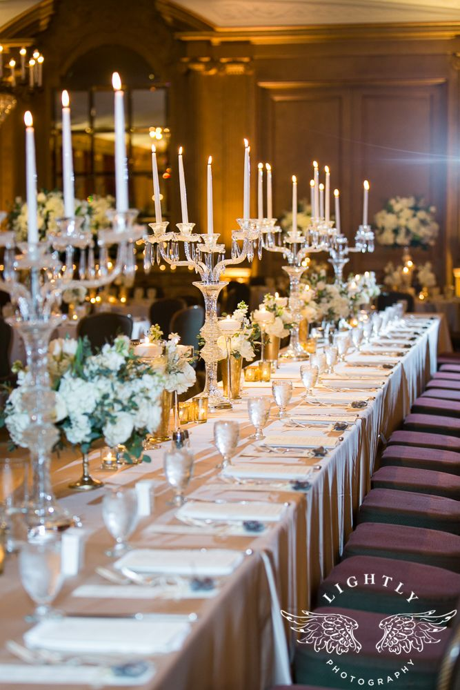 Fort Worth Club In Texas Ballroom Wedding Reception White Ivory Flowers Glware