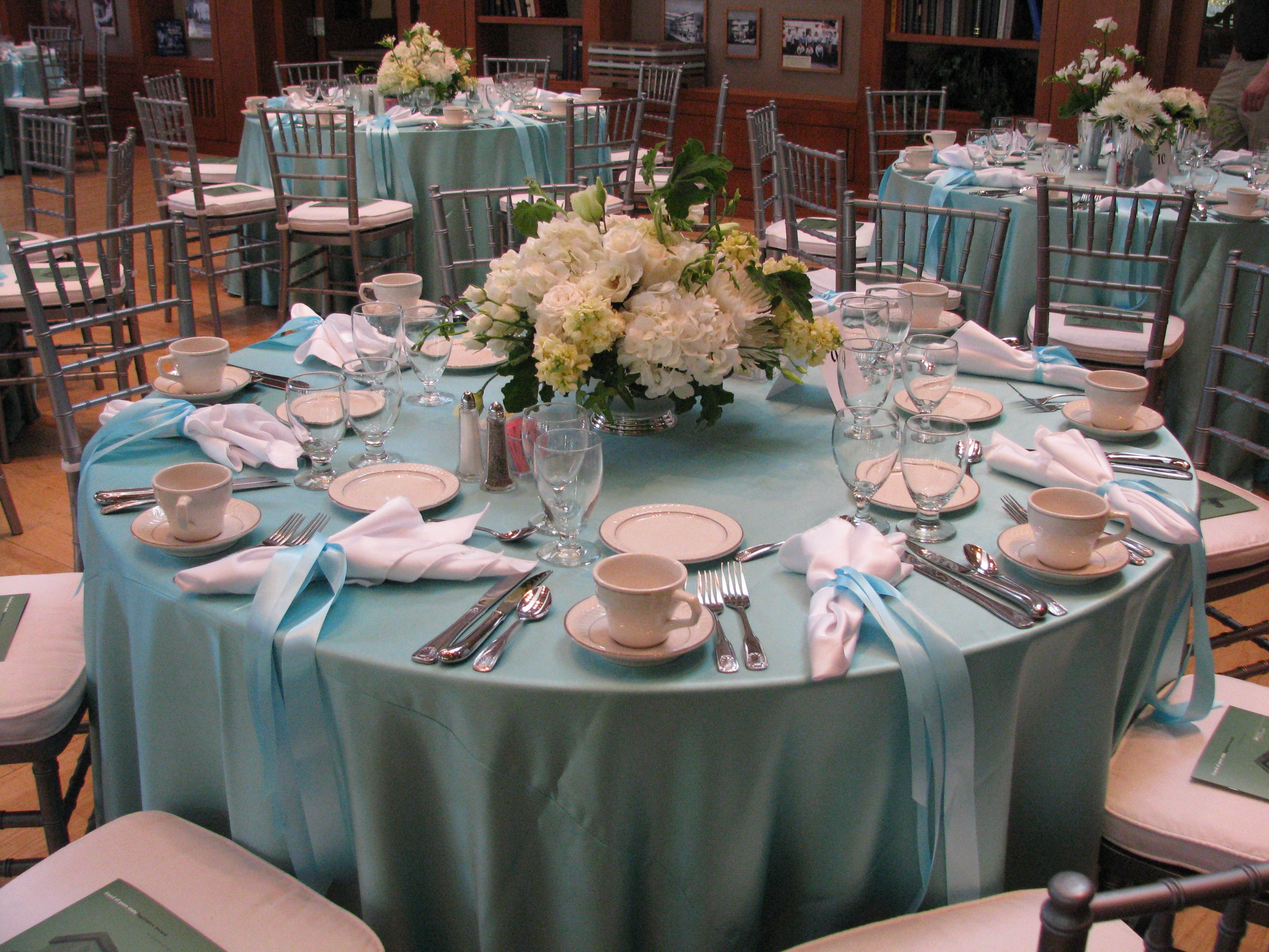Tiffany Blue Themed Luncheon Using Tiffany Blue Satin Tablecloths And  Silver Chiavari Chairs With White Hydrangeas