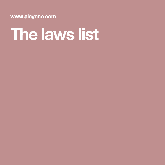 Laws Of Physics List