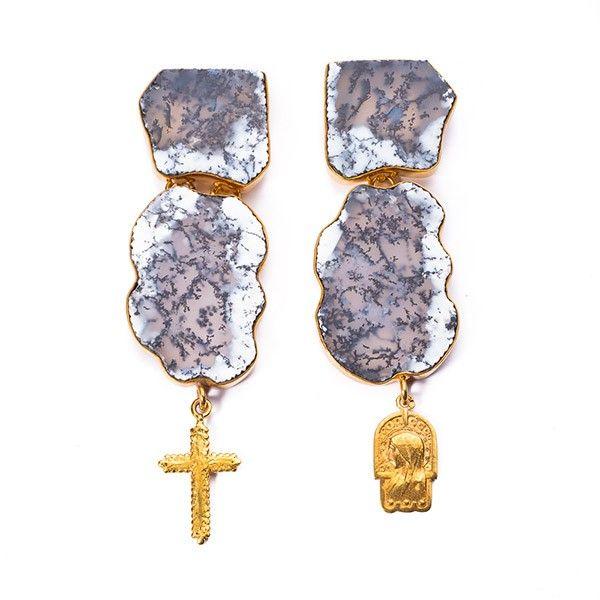 Angel Diamond Dot // Gospel Dendrite Earrings