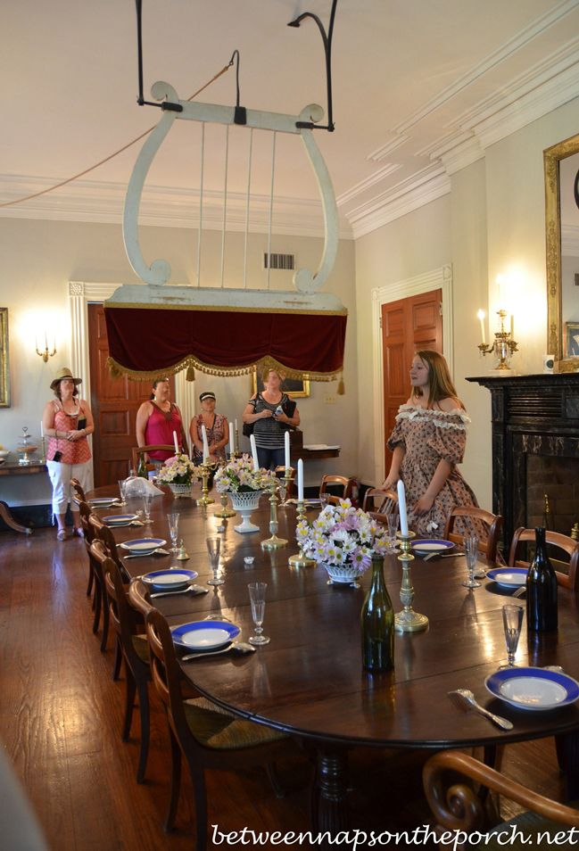 Tour Beautiful Oak Alley Plantation In Louisiana Another Punkah Above The Table To Keep