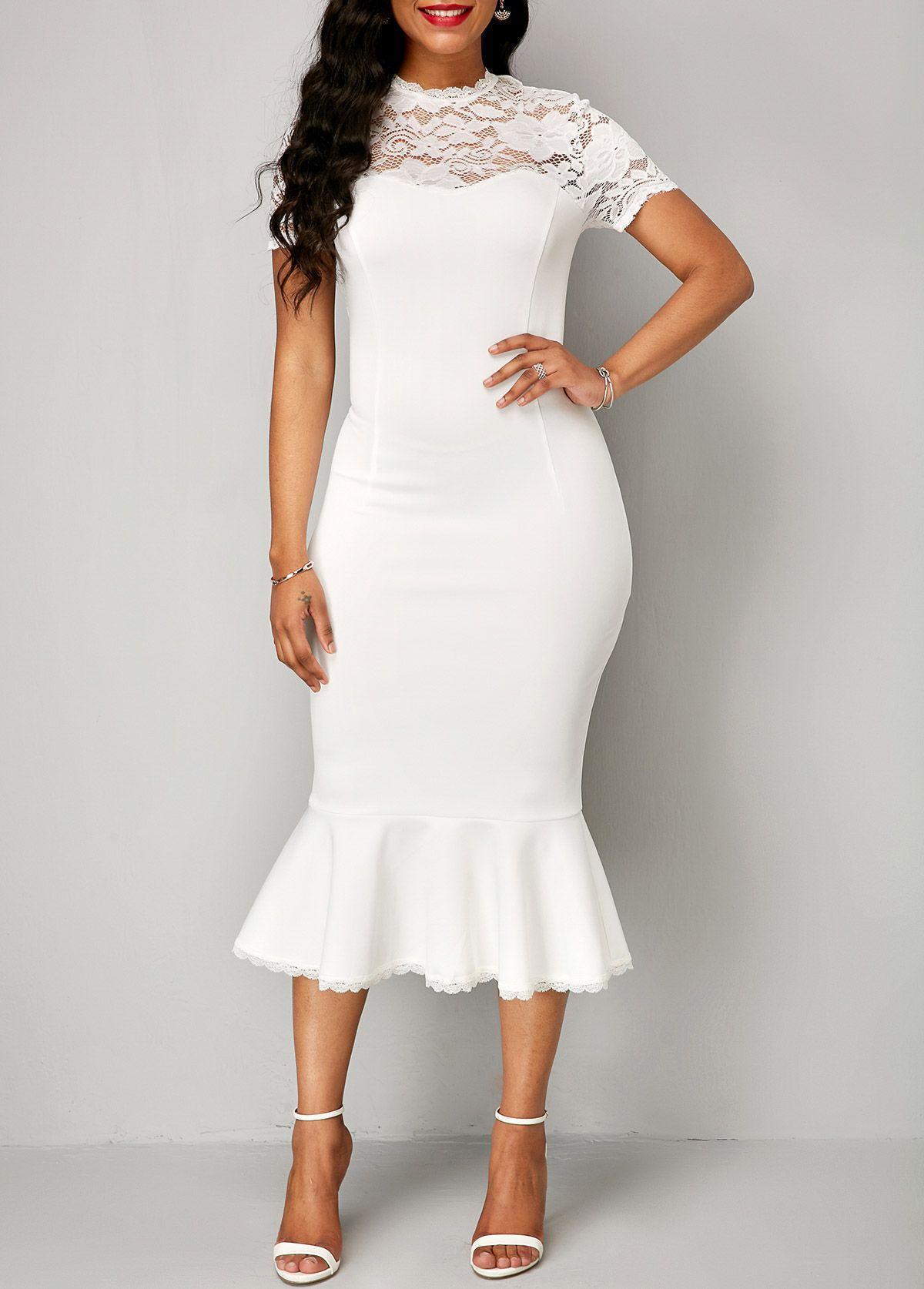 Lace panel peplum hem white sheath dress