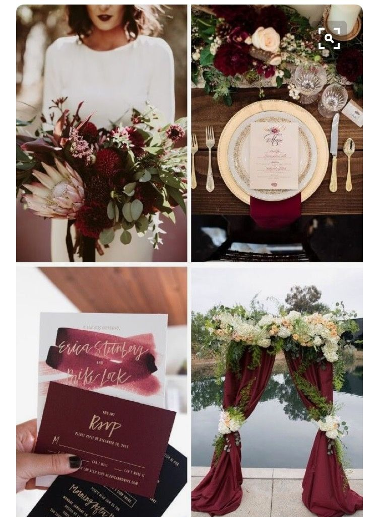 Burgundy and rose gold marsala wedding color gold and