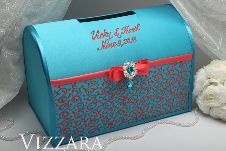 Card boxes for weddings Turquoise wedding Card box wedding Coral and turquoise wedding Wedding cards box Turquoise and coral wedding
