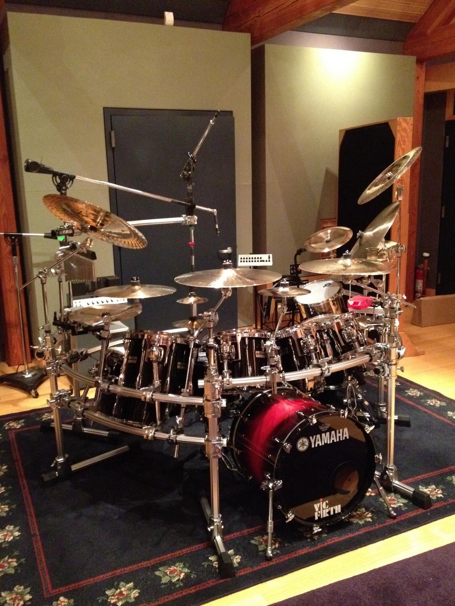 Nice Drum Set On Great Oriental Design Carpet With Microphones