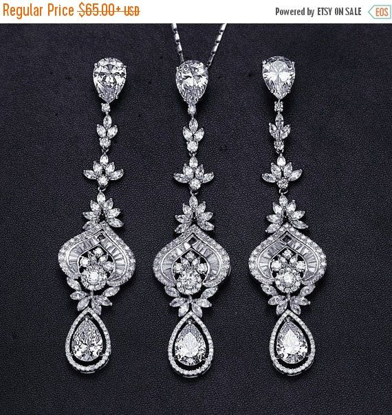 SALE Bridal Party CZ Necklace Earrings Set by EleganceByKate