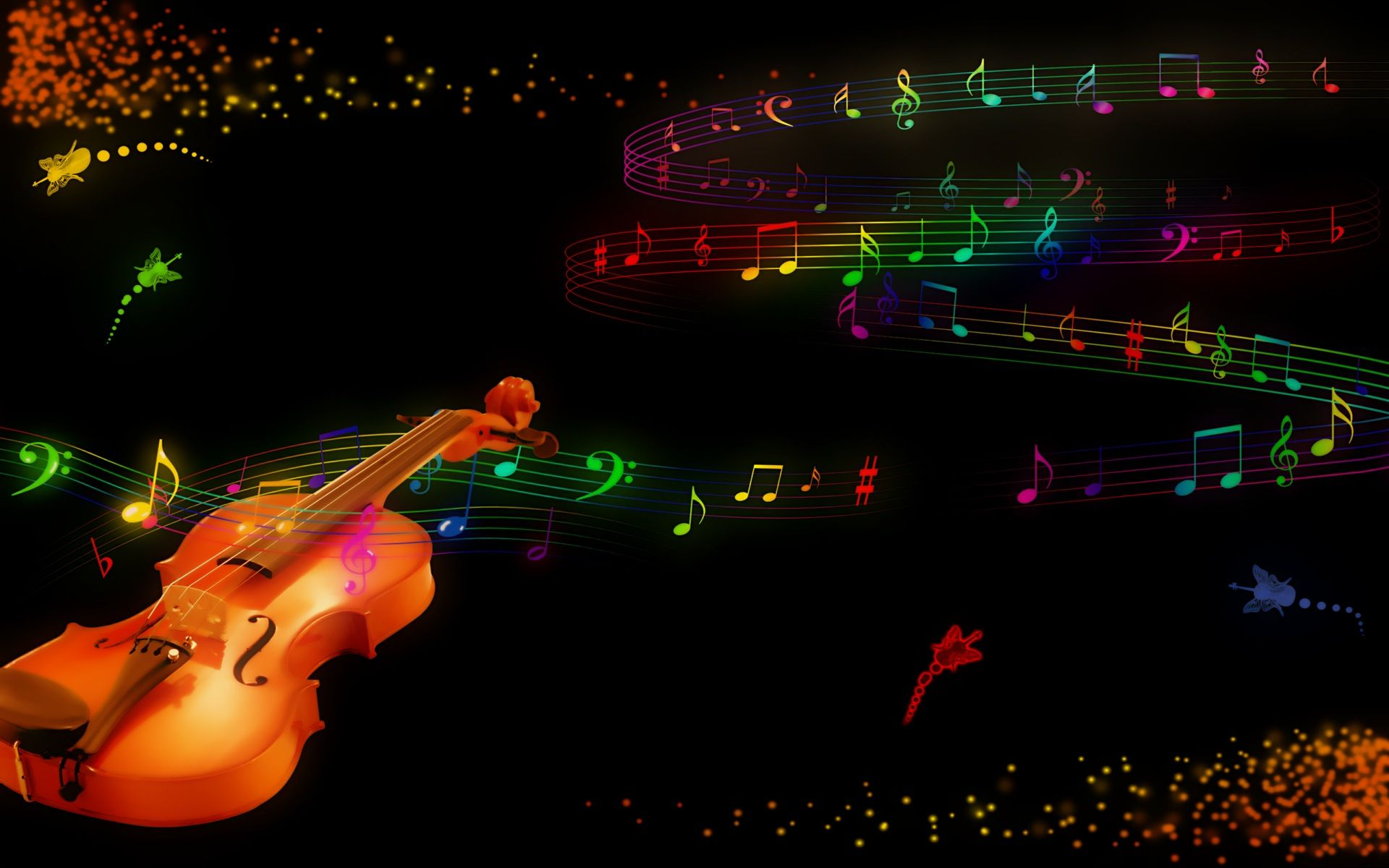 Rainbow Music Notes Background Hd Wallpaper Background Images: Abstract Rainbow Music Wallpaper Background #7gdhh