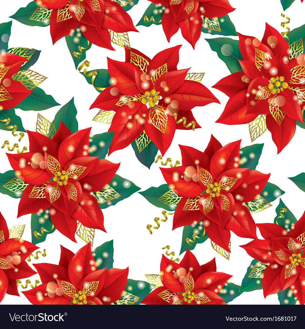Seamless pattern of Christmas Poinsettia with golden