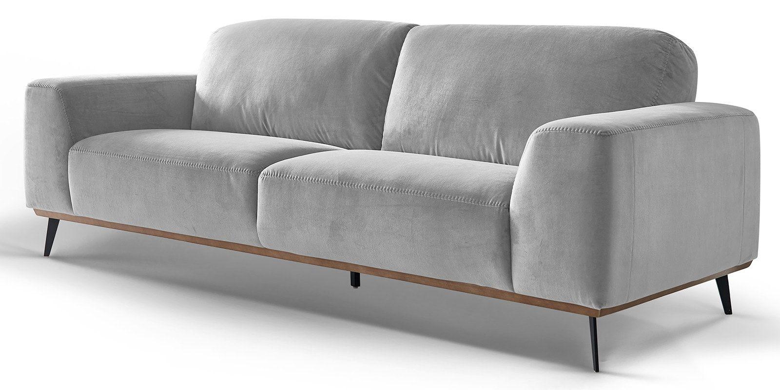 Skandi Design 3 Sitzer Ledercouch Holzrahmen Barcelona Comfort2home Couch Ledercouch Bequemes Sofa
