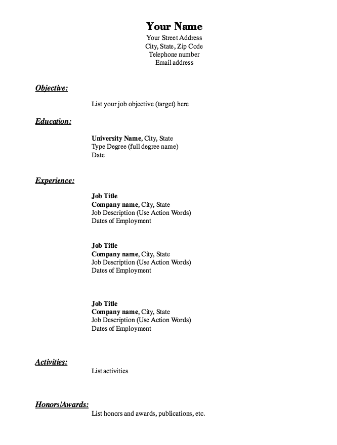 Simple Basic Resume Template Httpresumesdesignsimple Basic