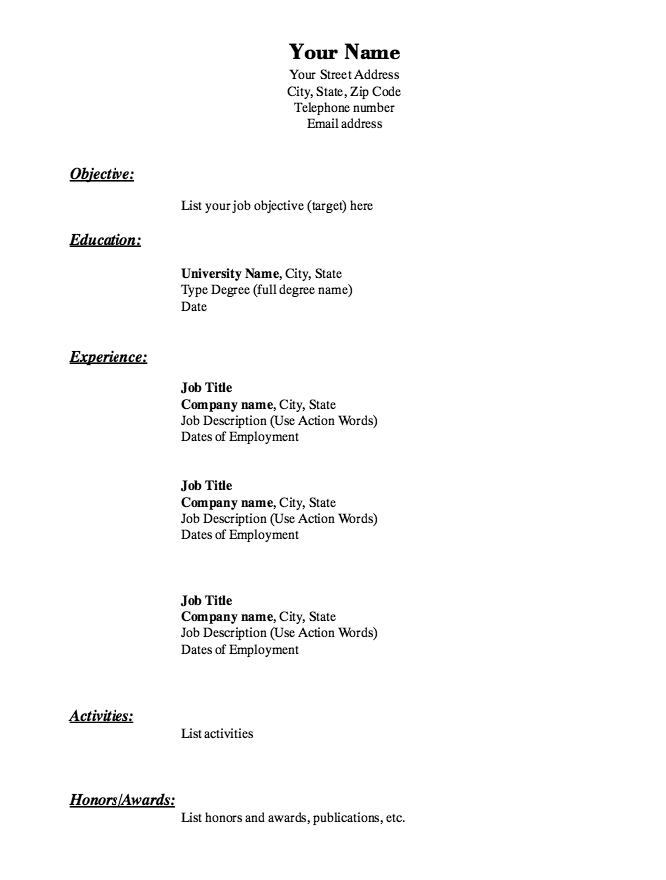 basic sample resume format resume format and resume maker. simple ...