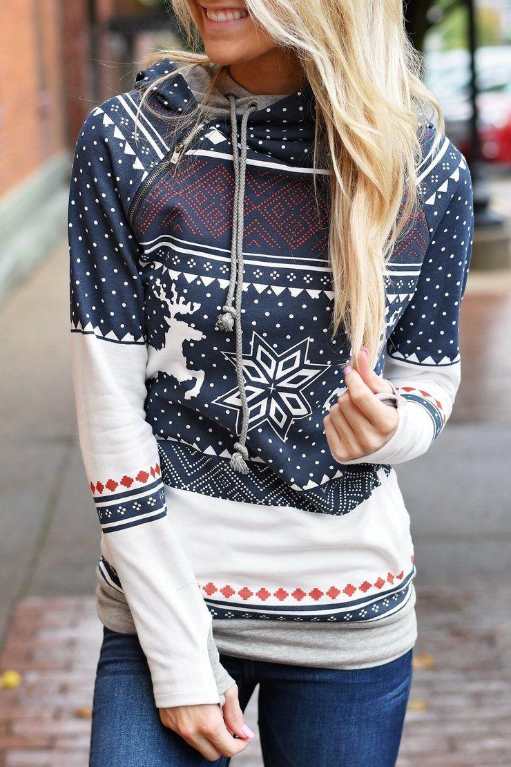 LODDD Christmas Women Elk Snowflake Print Tops 2019 Fashion Hooded Sweatshirt Long Sleeve Pullover Blouse
