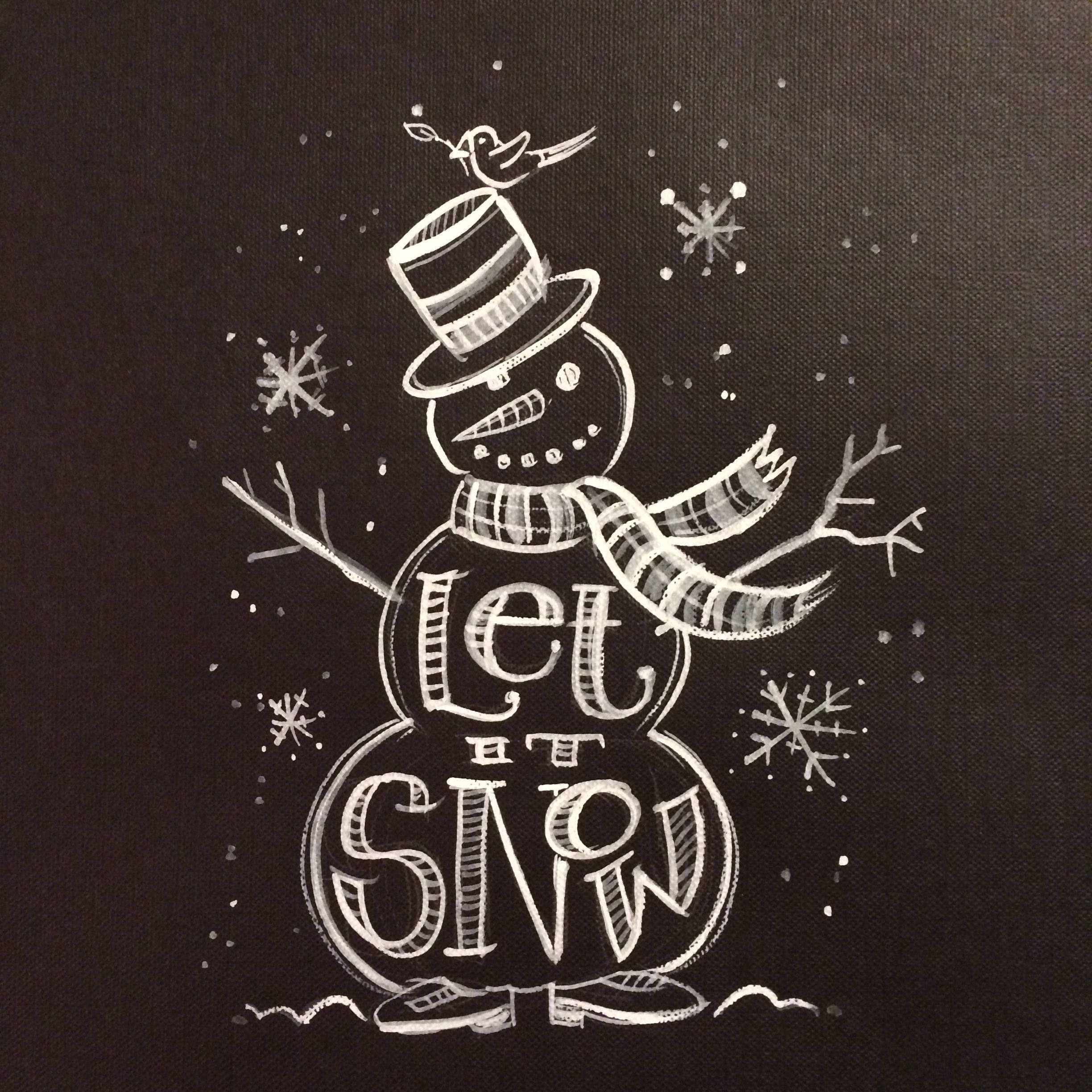 "Let It Snow"" Snowman Chalkboard painting. memehill.com  Christmas"