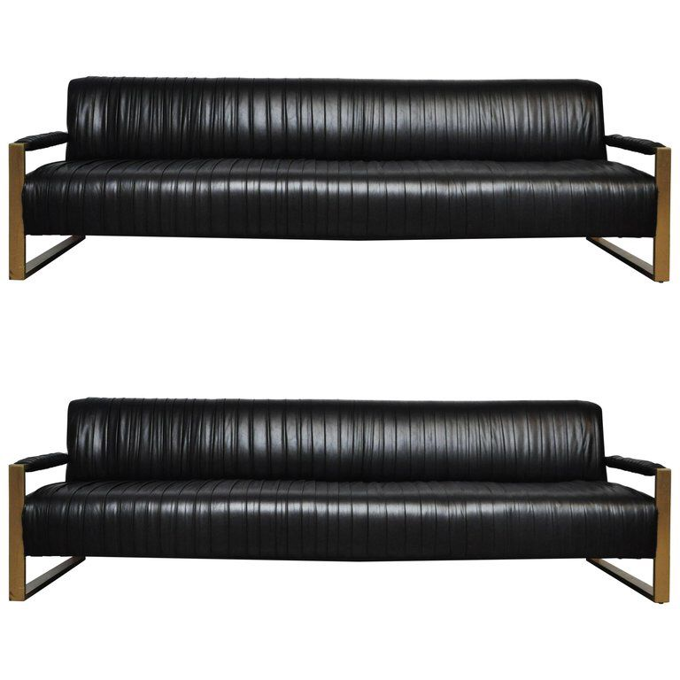 Modern Drama Pleated Leather Sofa With Brushed Brass Frames See