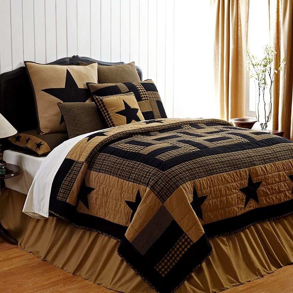 Rustic Country Black Western Star Twin Queen Cal King Cotton Quilt