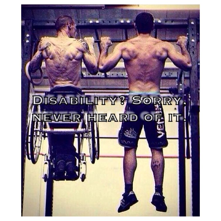 Motivational Quotes turn disability into ability. Workout exercise eat clean & don't stop. See the results.