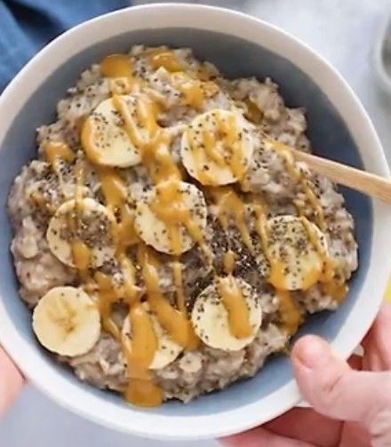 Peanut Butter Banana Chia Oatmeal - food delicious ideas