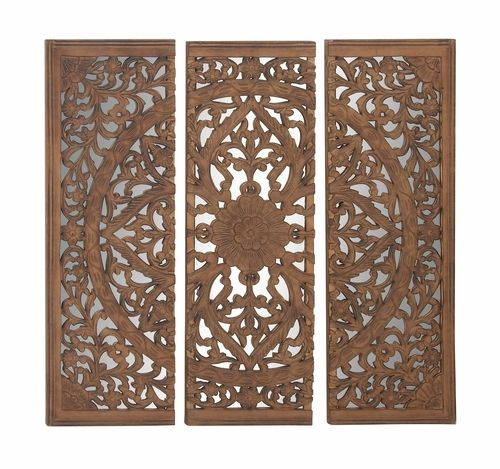 Buy Astounding Set Of 3 Wood Mirror Wall Panel 48 W 48 H By Uma Carved Wood Wall Art Mirror Wall Art Mirror Panel Wall