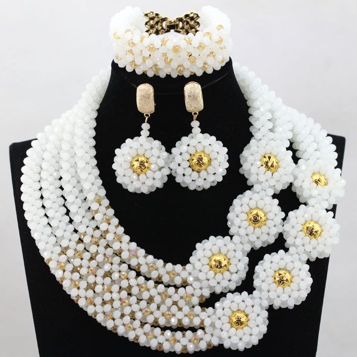 splendid white gold bold statement necklace set handmade crystal beaded women bridal jewelry
