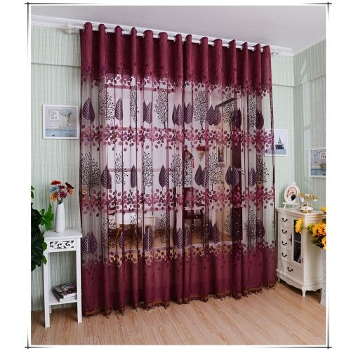European Top Grade Leaves Pattern Half Shading Burnt Out Curtain For Door Window Room