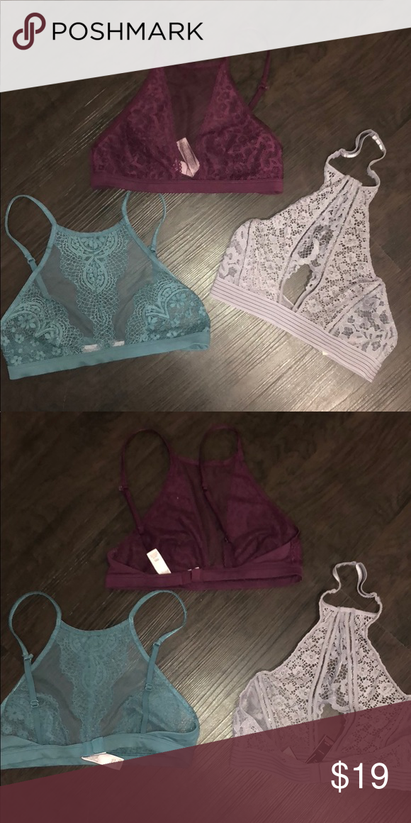a59d2dbfa3da4 Bundle XS Sexy lace bralettes Hardly used VICTORIA S SECRET unlined  bralettes in size XS burgundy wine Lilac light lavender Teal blue  Victoria s Secret ...