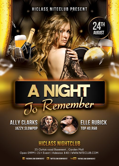 a night to remember nightclub flyer template