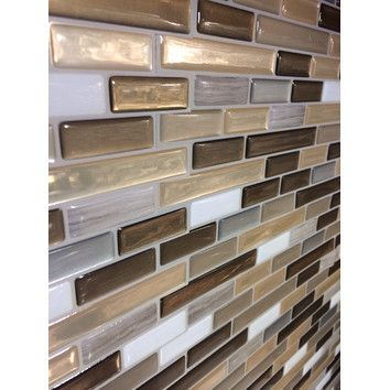 Smart Tiles Mosaik 10 25 X 9 13 Self Adhesive High Gloss Mosaic In Beige Gray Reviews Peel Smart Tiles Trendy Kitchen Backsplash Smart Tiles Backsplash