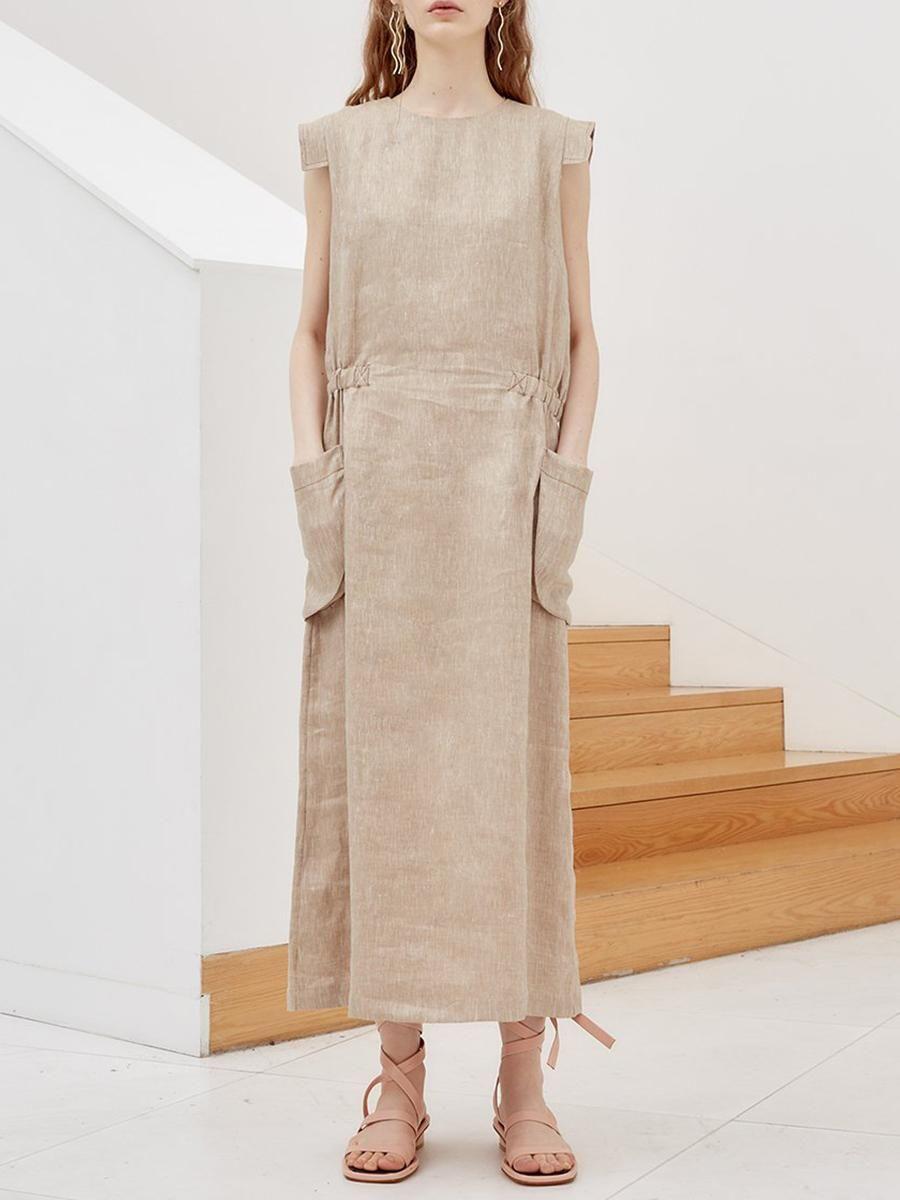 da1b99d06d #EnvyWe #BerryLook - #berrylook Round Neck Slit Pocket Plain Maxi Dress -  EnvyWe.com
