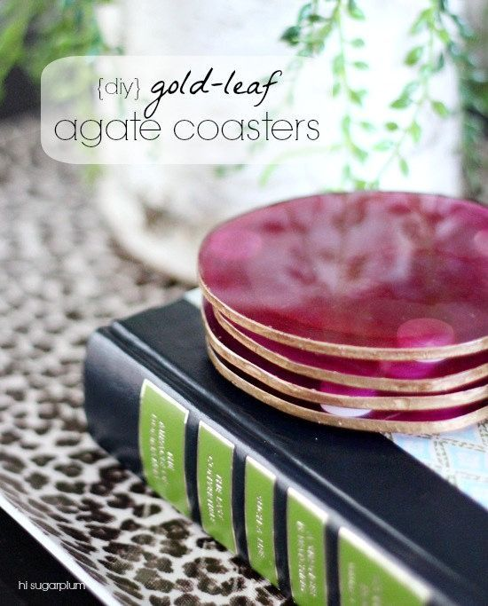 DIY Gold Leaf Agate Coasters tutorial using Martha Stewart liquid gilding.