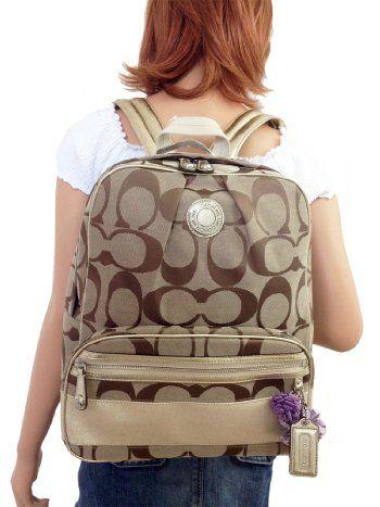Coach Signature C Khaki Gold Backpack F19451 5055ea61c9305