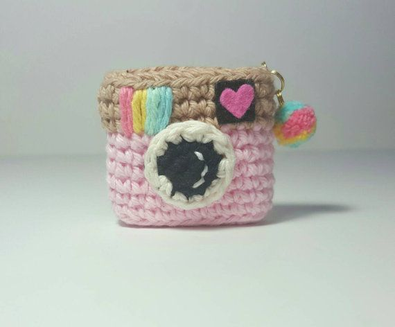 Amigurumi Crochet Keychain : Amigurumi camera instagram crochet keychain backpack accessory