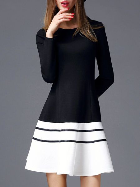 Colorblock long sleeve dresses