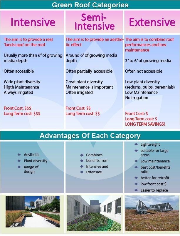 Green Roof Categories Intensive Extensive Semi Intensive Green Roof Roof Landscape Green Roof System