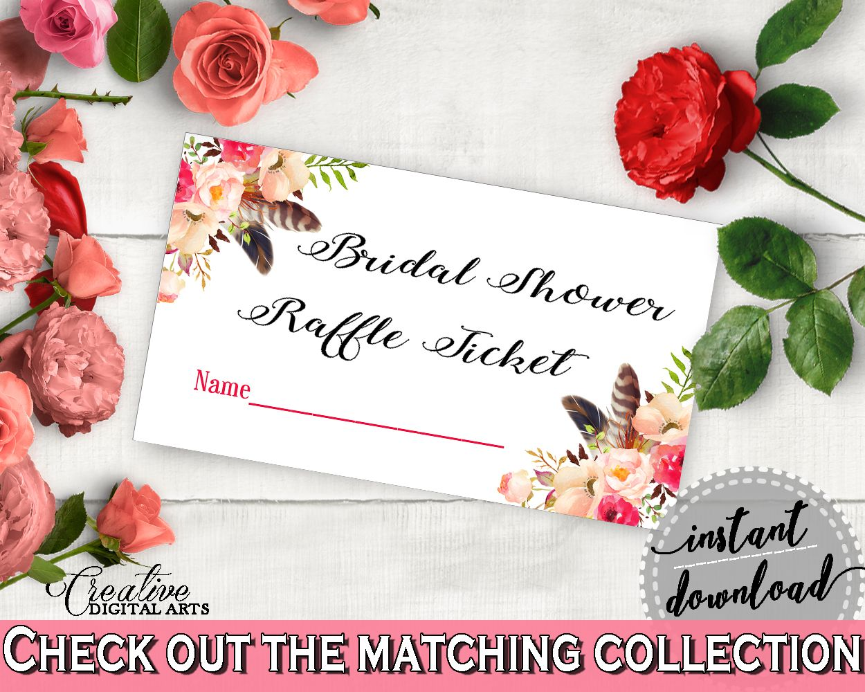 Pink And Red Bohemian Flowers Bridal Shower Theme: Raffle Ticket ...