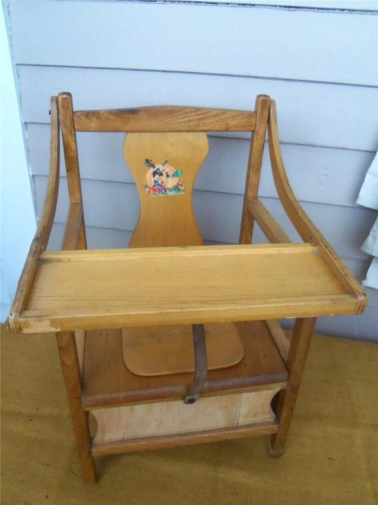 Vintage Chamber Pot Wooden Chair Commode Potty Toilet Box