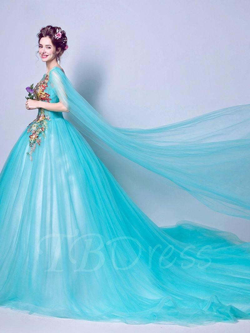 172d0a49cb Scoop Ball Gown Beaded Embroidery Watteau Train Quinceanera Dress   beautifulquinceaneradresses