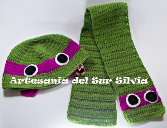 Conjunto gorro y bufanda crochet Tortugas Ninja | Gorros-Bufandas ...