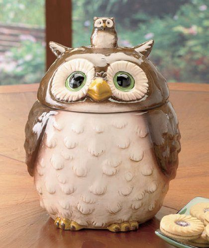 Ceramic Forest Friends Owl Cookie Jar Canister Lcl