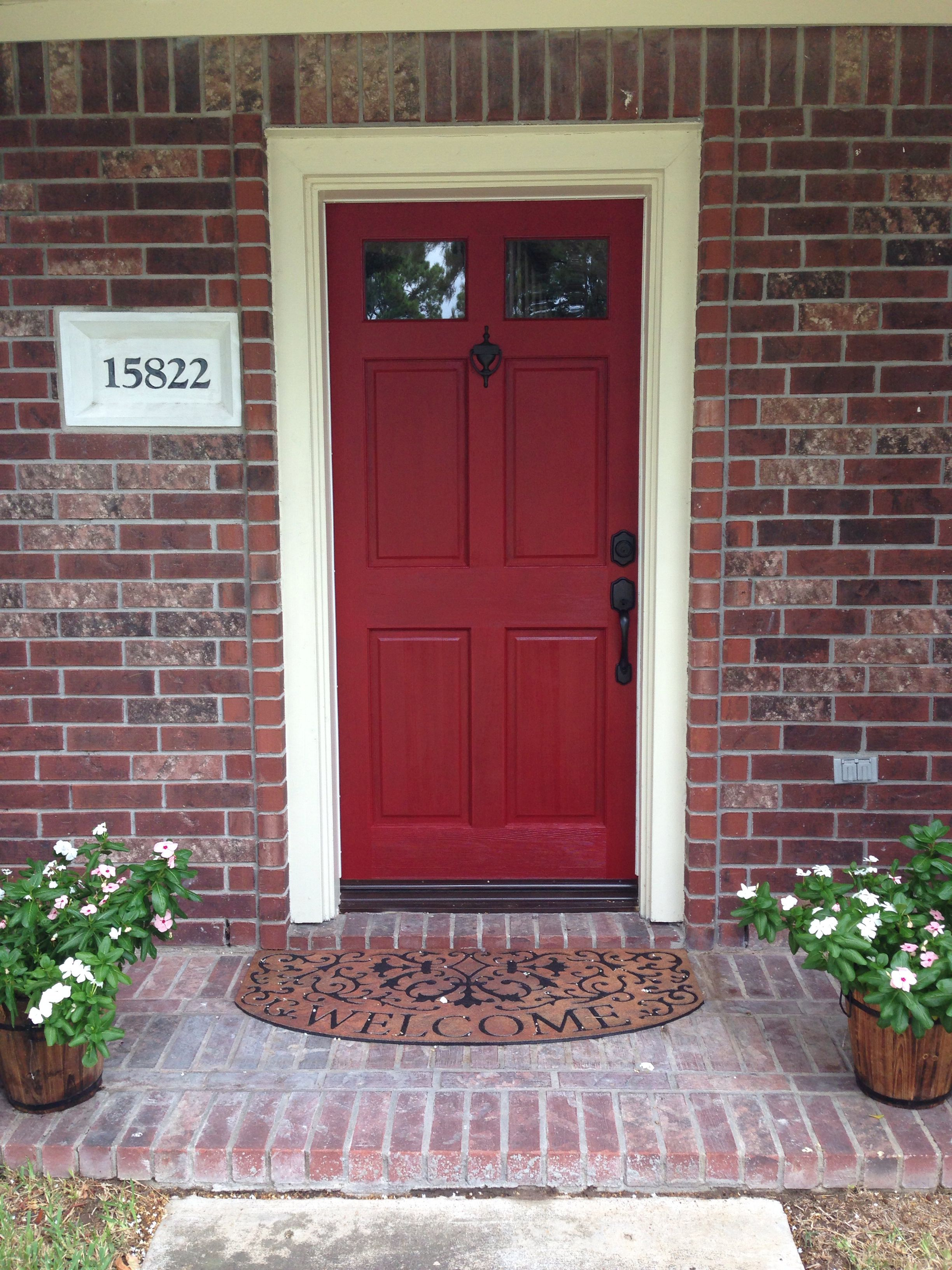 door color is front door redvalspar. front door makeover on