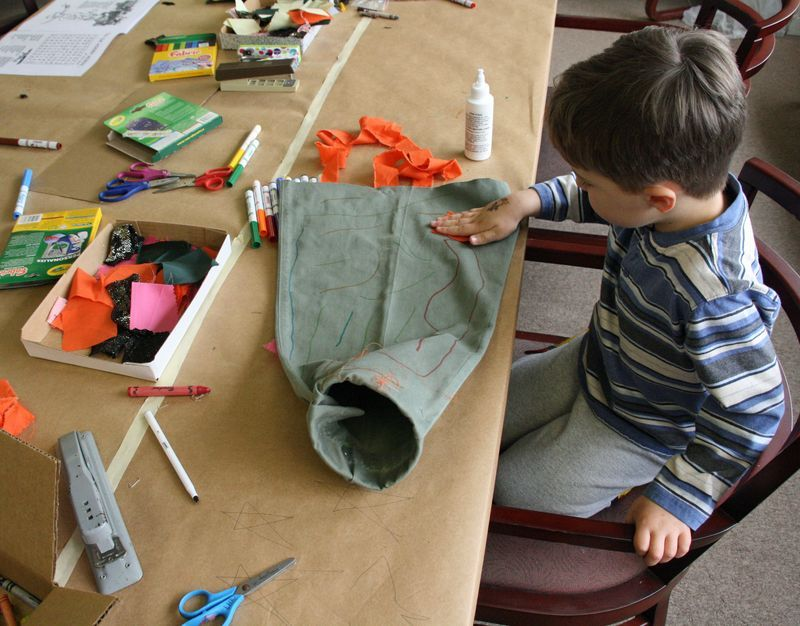 Make your own windsock.  Perfect for spring/autumn kite season.