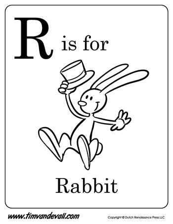 R Is For Rabbit Letter R Coloring Page Pdf Alphabet Printables Alphabet Coloring Pages Alphabet Book
